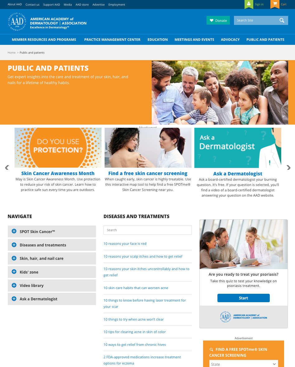 American Academy of Dermatology patient information on website